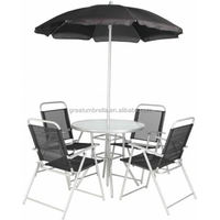 4 Seater Patio Set Garden Furniture, Chairs, Table, Umbrella, Parasol