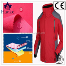 windproof waterproof breathable 3 layer TPU bonding softshell fabric