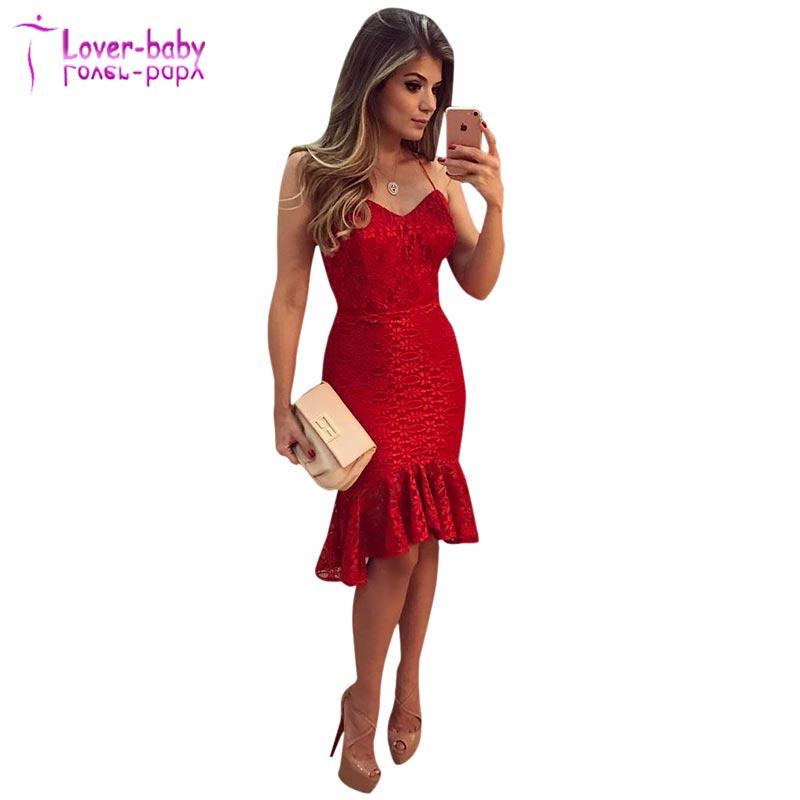 fade5e78a Venta al por mayor vestidos de sirena con encajes rojos-Compre ...