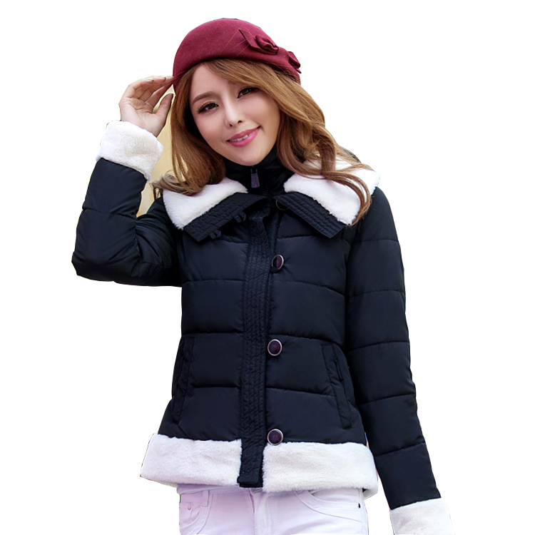 2015 Fashion Women Winter Faux Fur Collar Coat Plus Size Warm Blue Short Single Breasted Cotton Clothes For Women