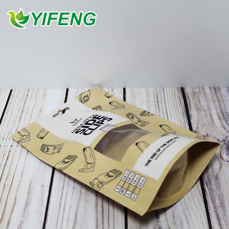Doypack With Window Dried Fruit Excellent Quality Moisture Proof Packaging Double Kraft Paper Bag