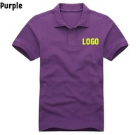 Purple stock large size polo shirt with embroidered logo for man