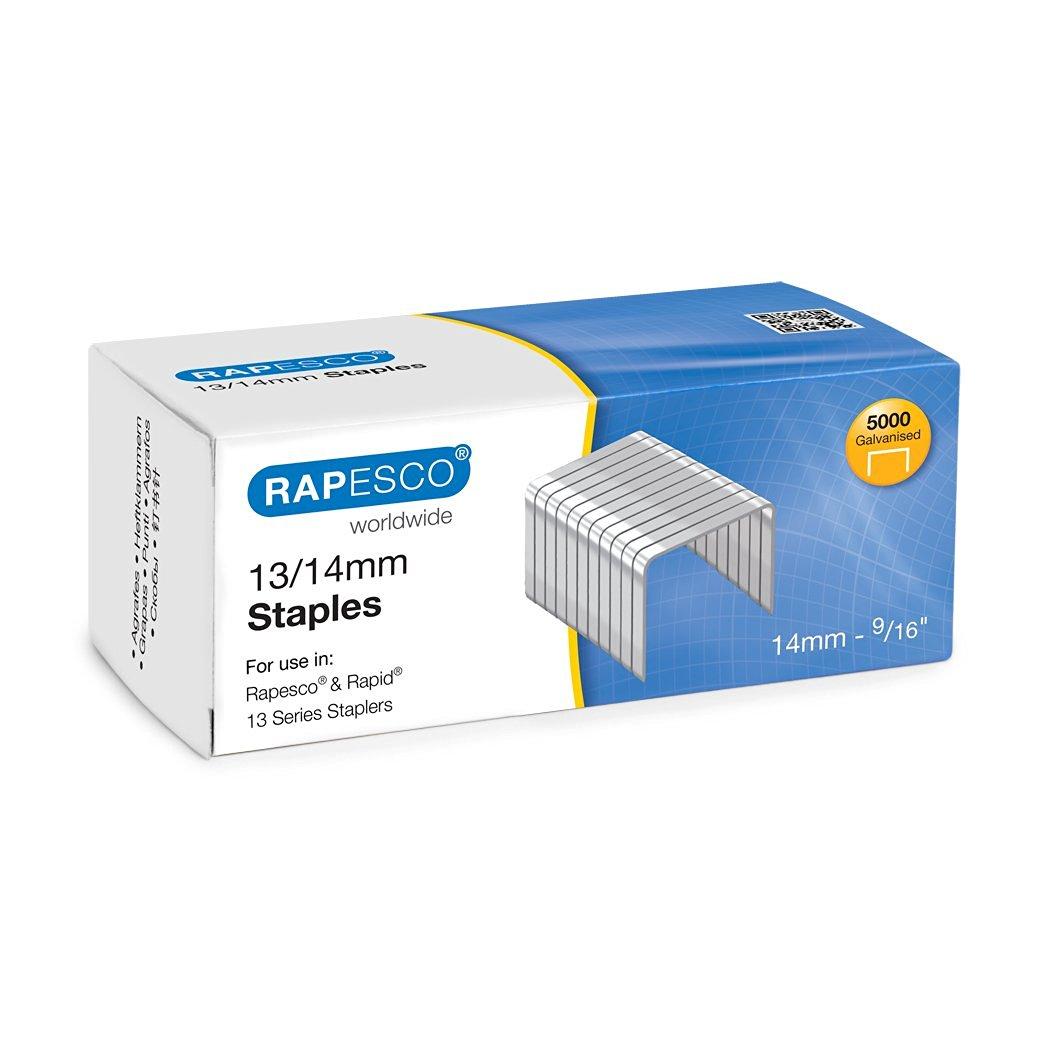 Rapesco 14//5mm Staples Hard Wire Galvanised Staples 50//60 Type Box 5,000