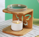 Aroma lamp fragrance lamp essential oil warmer ceramic oil burner with wooden frame butterfly pattern