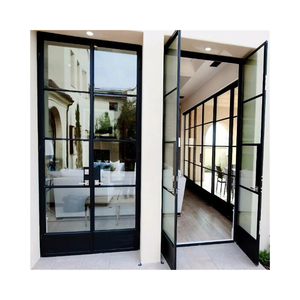 House gate grill designs hot roll profiles made steel framed door with LOWE glass
