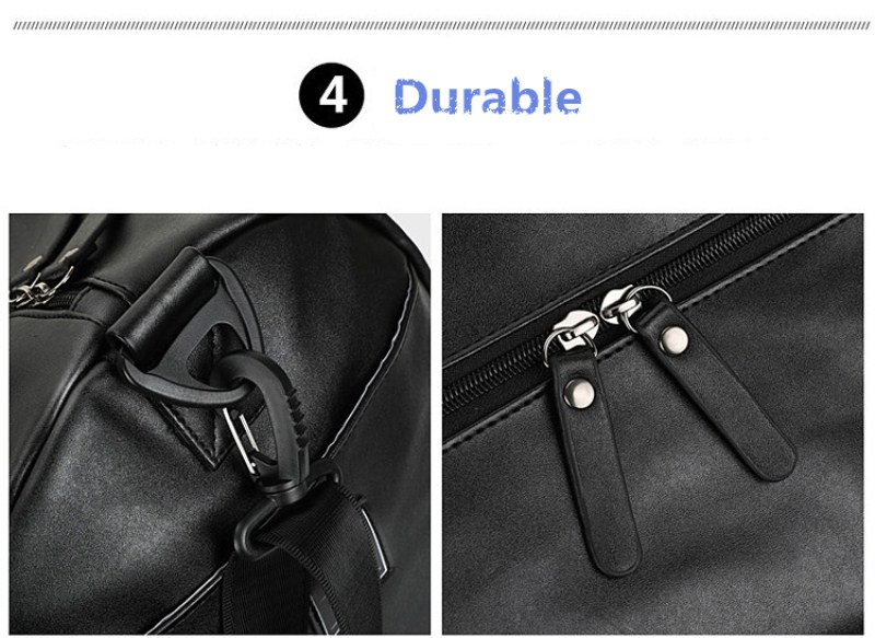 2019 custom waterproof leather gym bag travel duffel bag with secret compartment