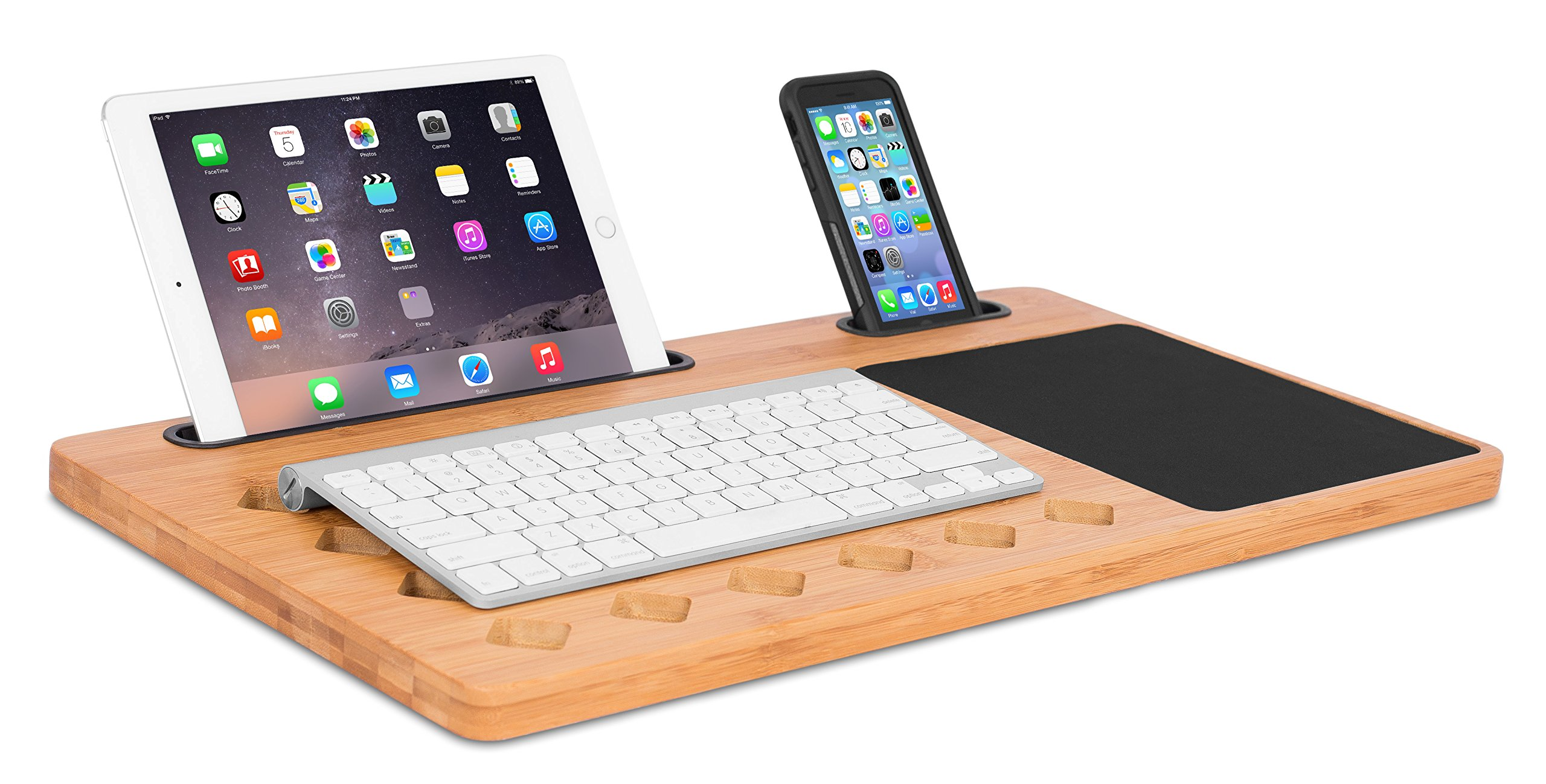 Sofia + Sam Bamboo Laptop Lap Desk Board | Multi Tasking Bed Tray Board | Diamond Vent Holes | Lap Tray with Tablet Phone Slot & Mouse Pad | Serving Bed Tray | Natural with