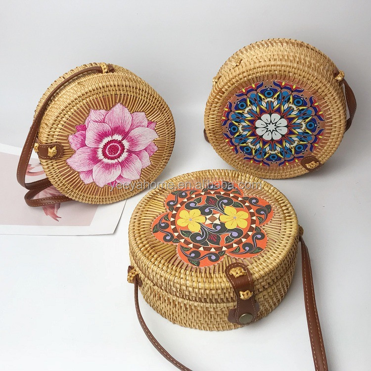 fancy painting decorative ratan fashion bags ladies bags fashion for summer beach