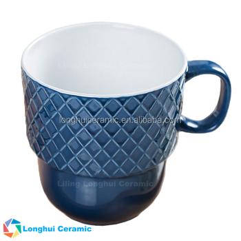 21oz Honeycomb Embossed Ice Cream Jumbo Ceramic Stacking Mugs - Buy ...