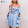 Clothes women casual fashion embroidery ruffled Mini strapless dress women