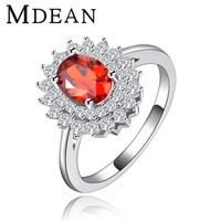 MDEAN Vintage Rings For Women party red CZ diamond White gold plated ruby engagement jewelry for women Free shipping MSR119