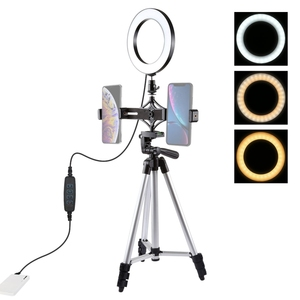 Wholesale low cost PULUZ Tripod Mount + Live Broadcast Dual Phone Bracket +6.2 inch LED Ring Vlogging Video Light Kits