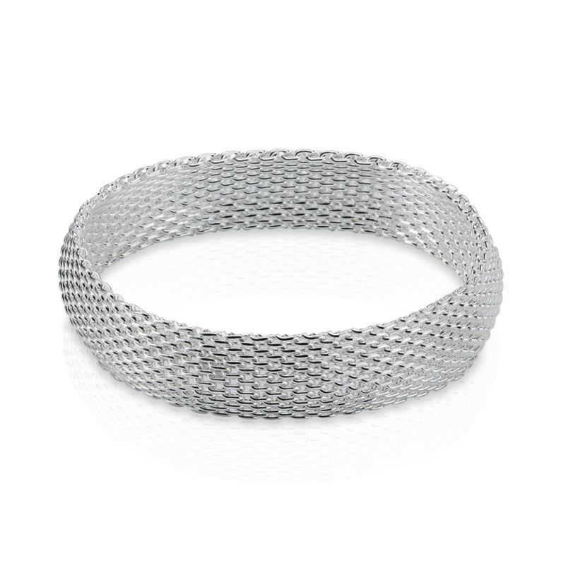 925 Sterling Silver Bangle Bracelet hand made - a small net silver bracelet Jewelry mesh chain