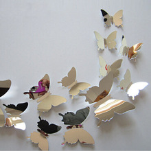 12Pcs Vinyl 3D Removable Decorative Silver Butterflies Wall Stciker For Kids Room Christmas 3D Art Wall Decals Home Decor