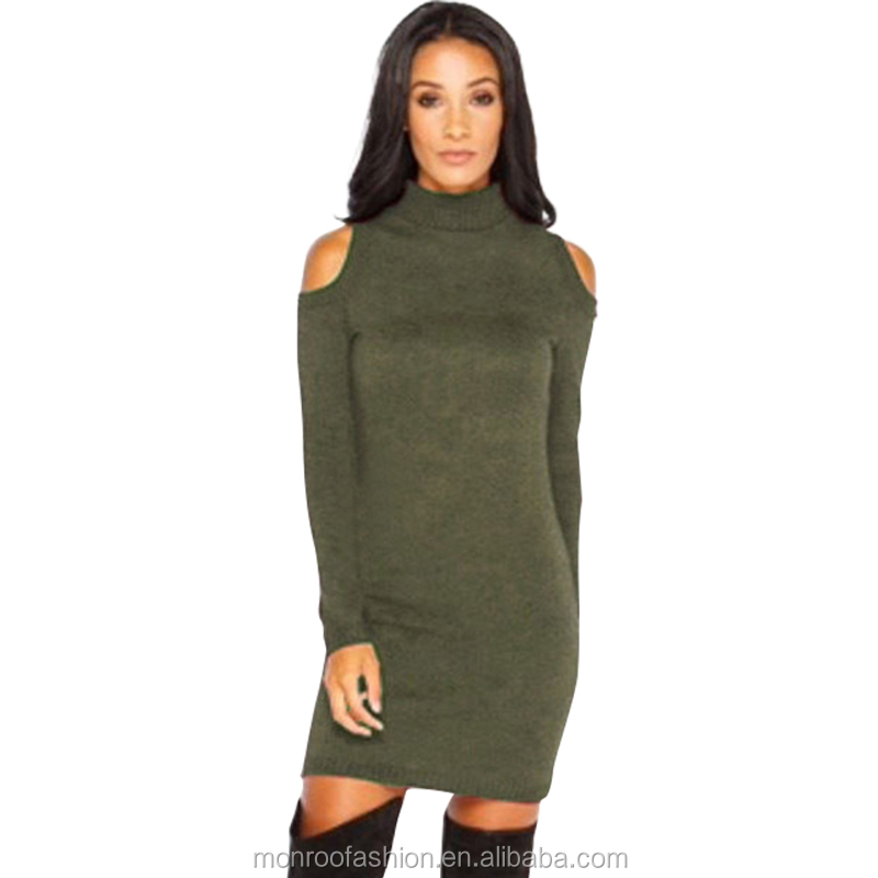 monroo Autumn Sweater Dress Women Off Shoulder Long Sleeve Turtleneck Mini Dress Slim Fit Knitted Bodycon Dress Solid Plus Size