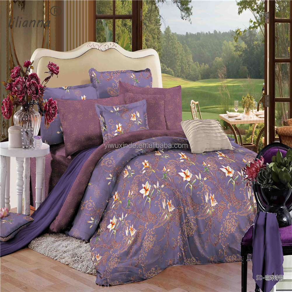 LILIANNA purple small flower Pastorale style 3d bedding sets good quality bedding sets