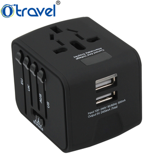 Otravel dual usb adapter AC 110-250V, DC output 5V 2.4A All-In-One mobile electrical accessories travel adapter plug with LCD