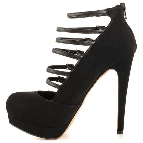 6b1828a2536d Get Quotations · Black Buckle Thin Heel With Platform Flock Rubber Round Toe  Medium Women Shoes Summer 2015 Sexy