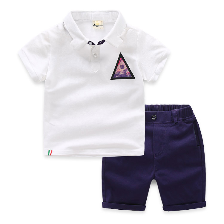 Wholesale childrens clothing sets casual wear pure color white shirts+pants handsome teens boys clothing kids boys clothing sets