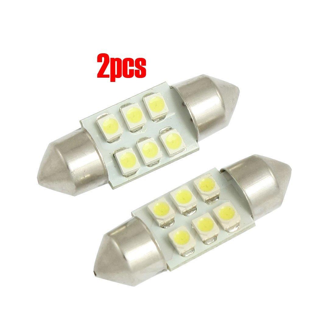 TOOGOO(R) 2 Pcs 31mm White 3528 SMD 6 LED Festoon Dome Map Light DE3175 DE3021 Bulb for Car