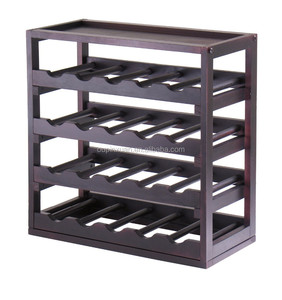 Removable Tray Wine Storage Cube Free Standing Four Tier bamboo Wine Rack