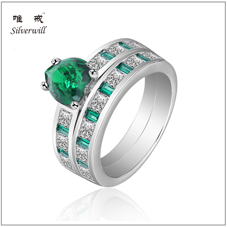Sterling silver princess cut channel set emerald green CZ bridal ring set