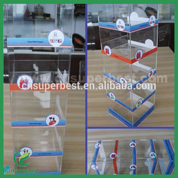 customize display rack for USB cable and iphone accessories made by acrylic material