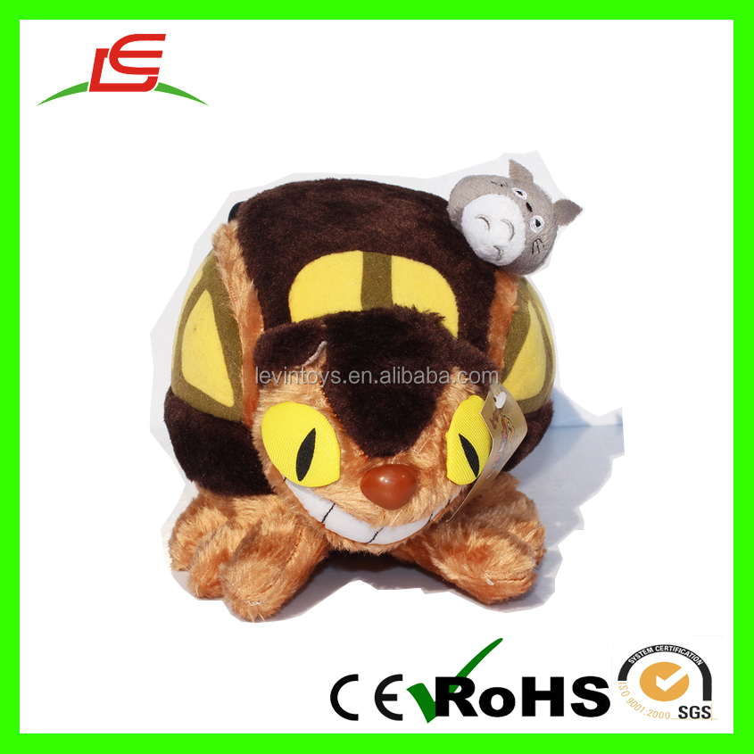 EN71 Good quality many feet cat brown plush stuffed toy bus