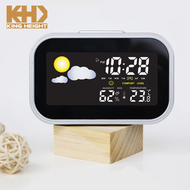 KH-CL007 Mini Temperatura Interna e Umidità Monitor Snooze Calendario Desktop Digitale Sveglia con Stazione Meteo
