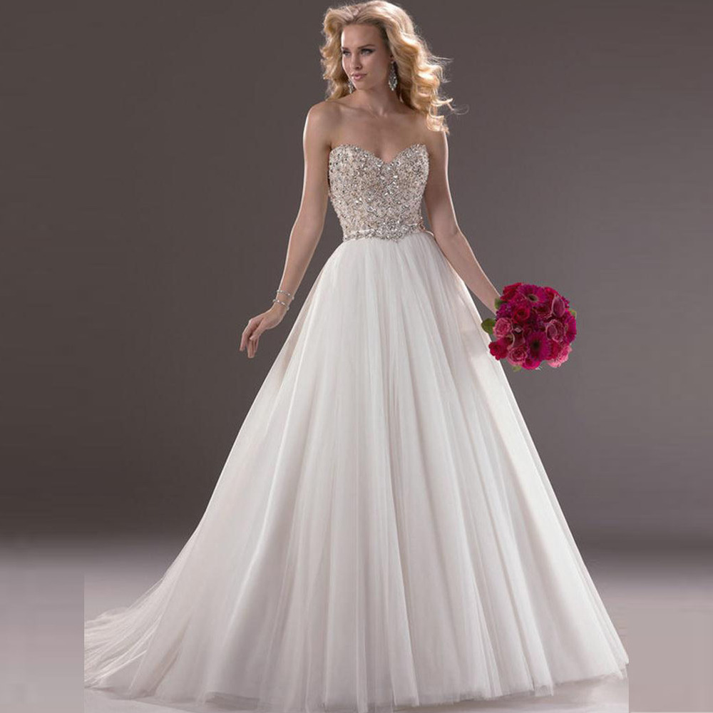 Bodice Wedding Gown: A Line Bridal Dress Sweetheart Beaded Bodice Tulle Bridal