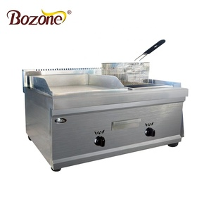 G-GF751 Chinese Quality Assured Free Standing LPG Type Stainless Steel Portable Gas Griddle With Gas Fryer