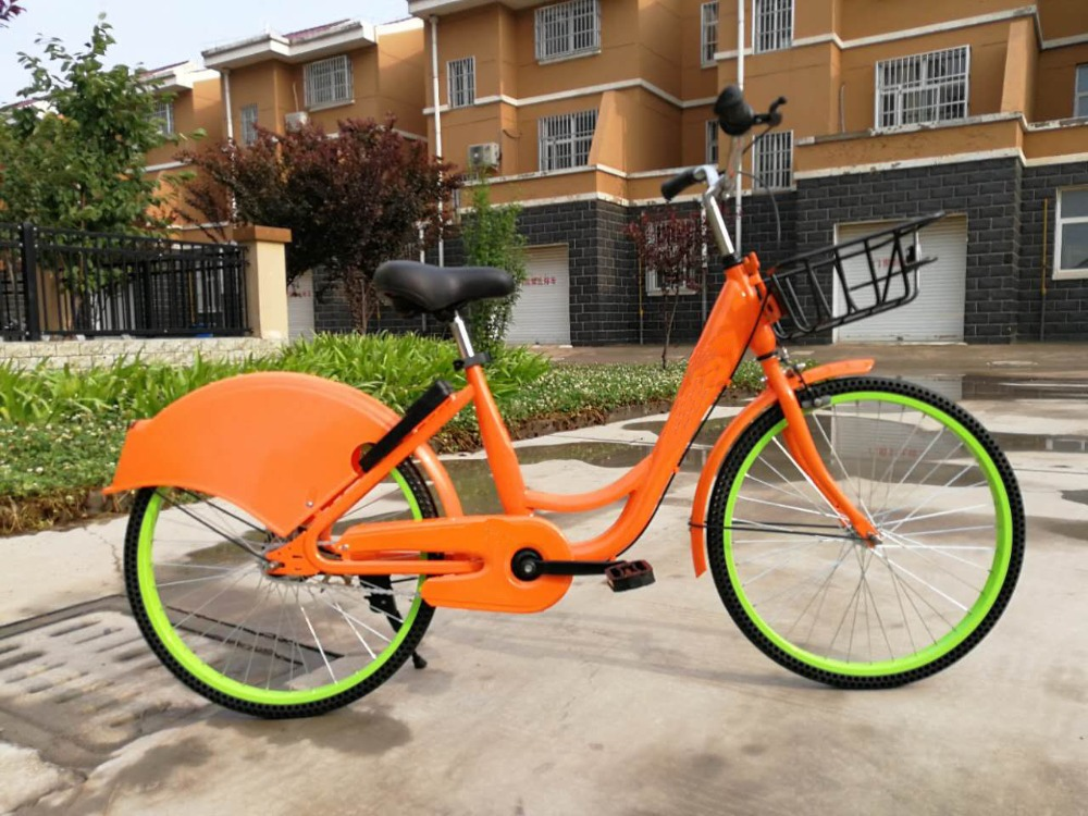 26 single speed sharing bicycles with colorful frames