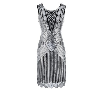 Women Vintage 1920s Great Gatsby Dress Party Sleeveless Inspired Beaded Sequin Flapper Dresses Y10586