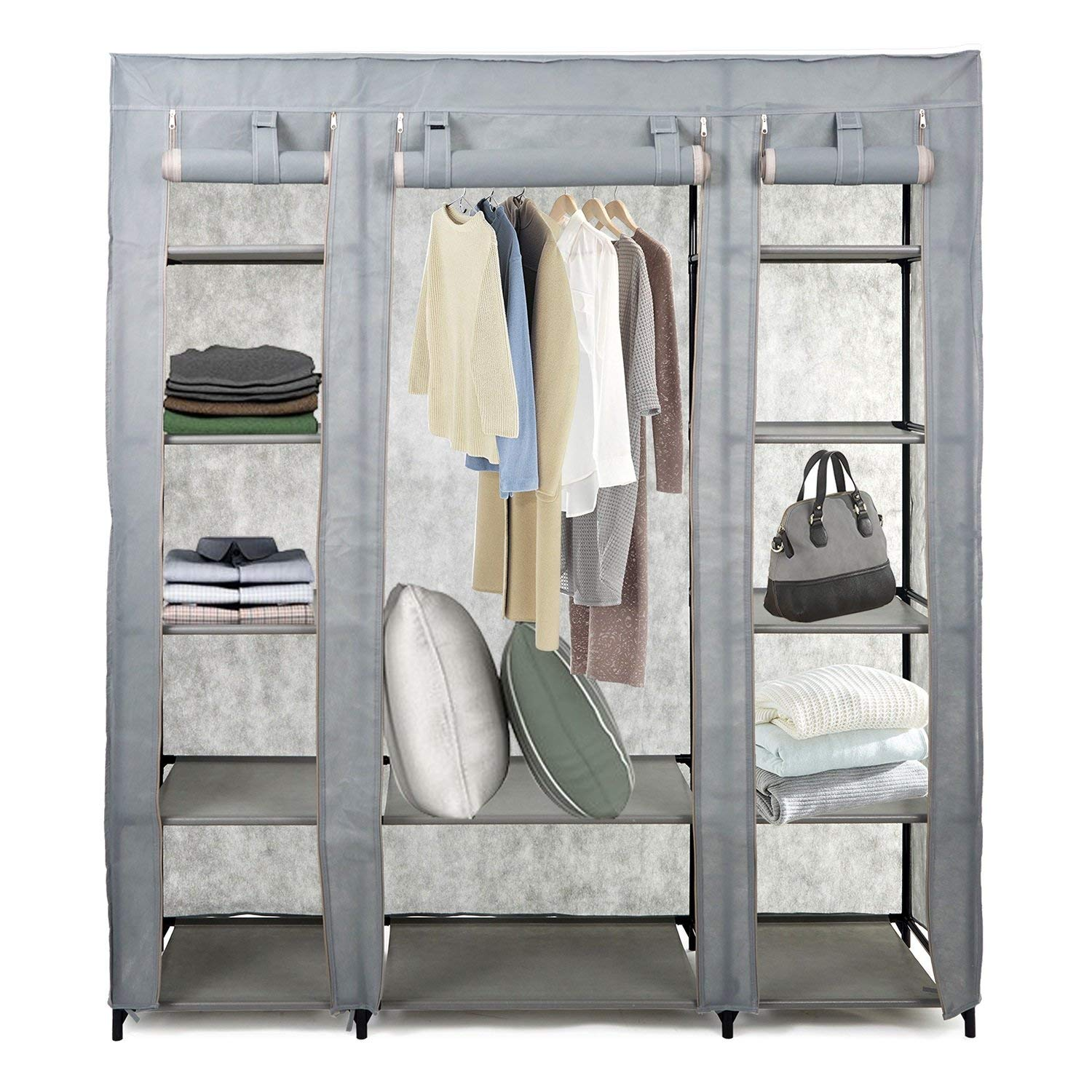 KARMAS PRODUCT 5-Tier Portable Wardrobe Clothes Closet with Non-woven Fabric and Steel Tube,Free Standing and Space Saving Closet Storage, Quick and Easy Assembly (gray)