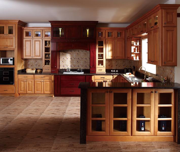 Discontinued Kitchen Cabinets: American Style Birch Wood Classic Kitchen Cabinet Design