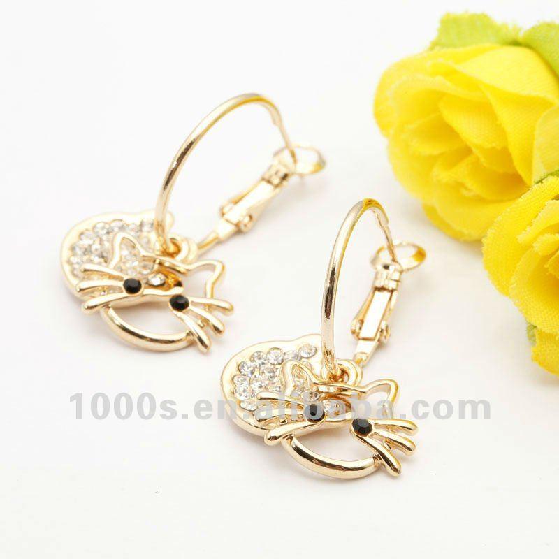 Pretty Cute Baby Cat Earring,Gold Earring - Buy Gold Earring,Stud ...