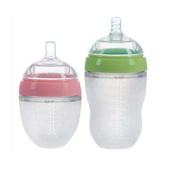 ECO Friendly Nursing Newborn Wide Neck Anti Colic Collapsible Sipper Milk Nipple Feeder Set Silicone Baby Feeding Bottle