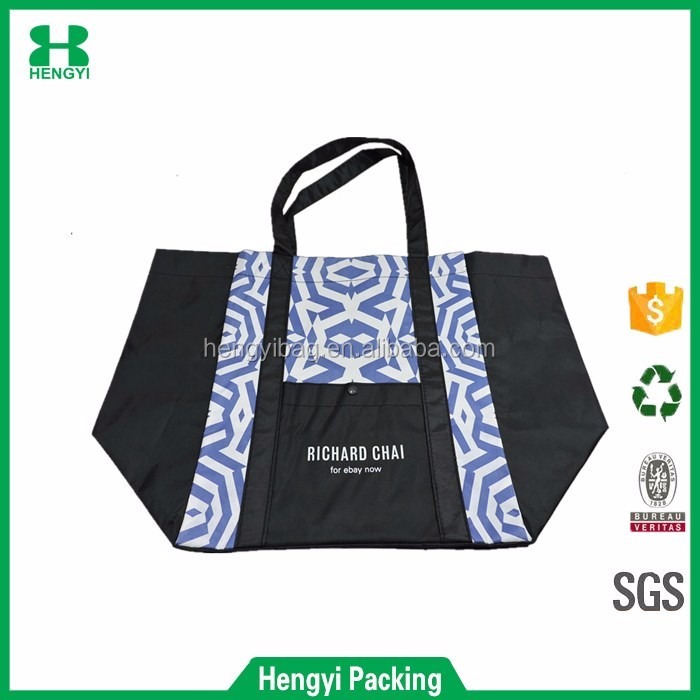 Custom promotion high quality large polyester shopping bag/ folding tote recycled nylon bag