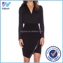 Yihao Sexy Dresses Summer Vestido High Street Asymmetric Bodycon Brand New Desigual Black Long Sleeve V Neck Split Dress