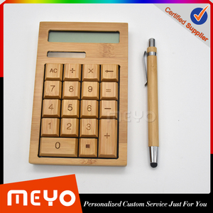Custom logo office promotional giveaway items bamboo stationery gift set with calculator and ball pen