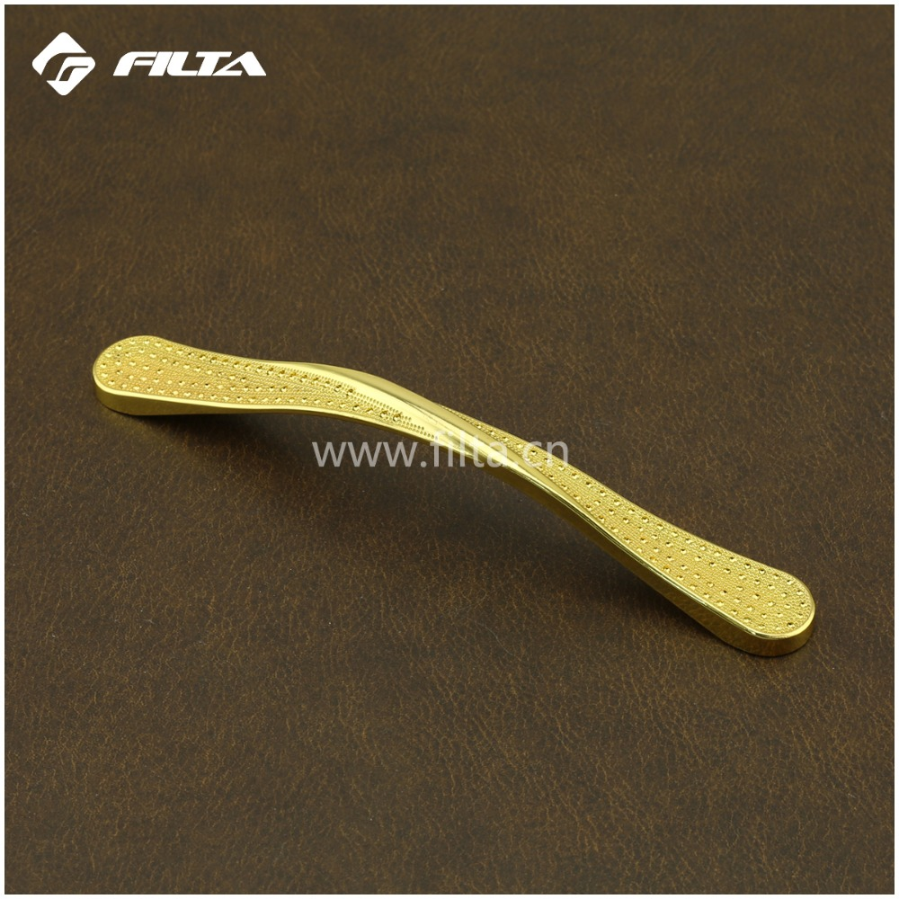 Gold plated crystal furniture hardware zinc gold classic furniture handle