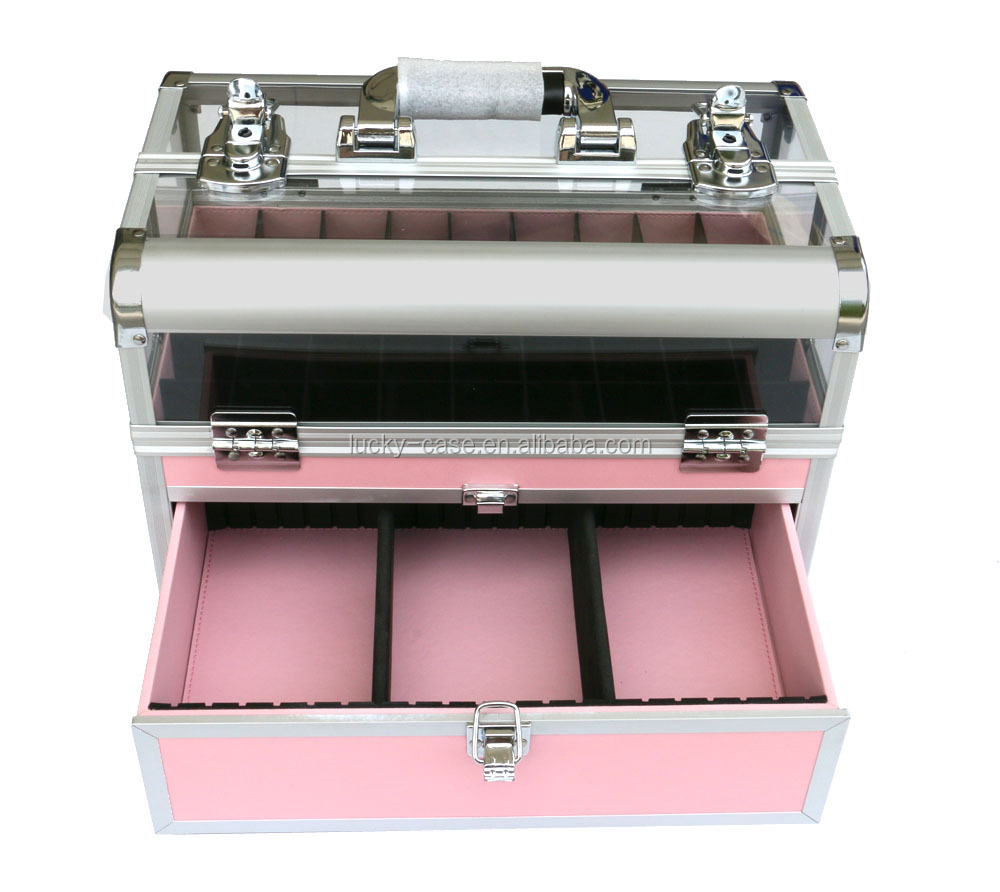 professional 2 in 1 portable nail polish aluminum cosmetic case, nail polish carrying cosmetic