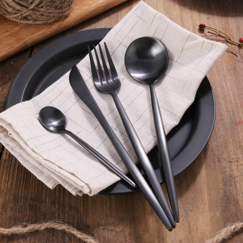4pcs Wholesale Stainless Steel Matte Black Cutlery Set Stainless