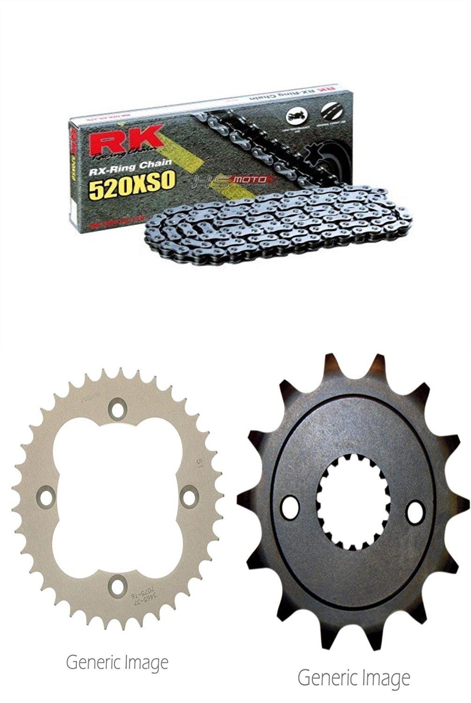 RK RX-Ring Chain 520XSO, SUNSTAR Front Steel Sprocket & Rear Aluminum Sprocket Kit for ATV/UTV HONDA TRX400EX SporTrax 2001-2004