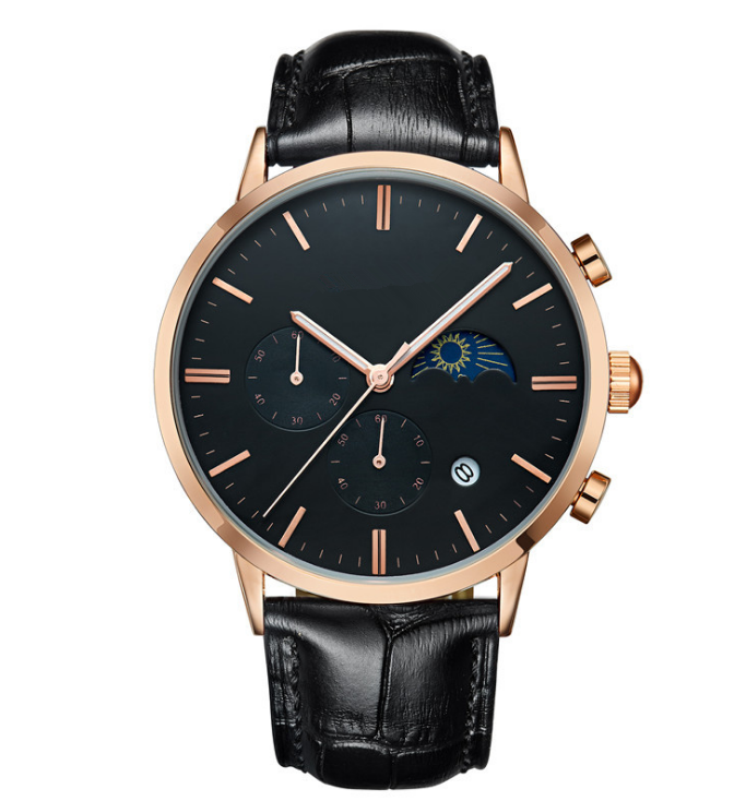 Top Brand Luxury genuine leather chronograph watch moon phase watch men