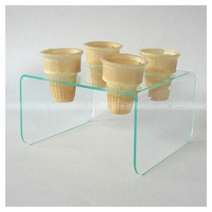 4 hole Green tinted Acrylic Ice Cream Cone Holder Display Riser Acrylic Nestle Table for Ice Cream Cone