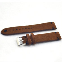 Новая мода 18 мм 20 мм 22 мм Мужской Женский браслет ручной работы замшевые коричневые наручные часы ремешок Ремешки для наручных часов KZSD08(Китай)