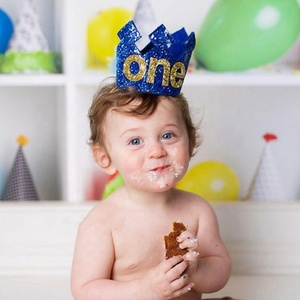 Royal Blue Glitter ONE Crown for Boy First Birthday Decoration Supplies