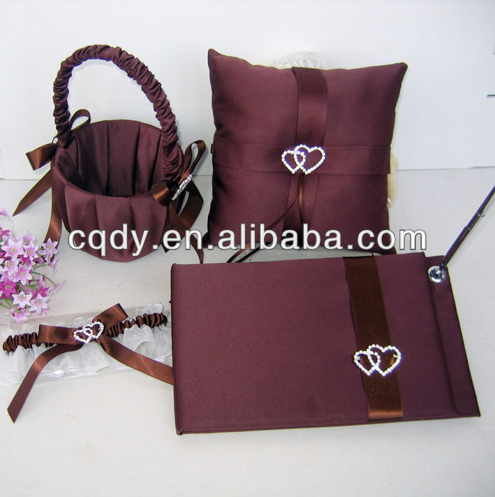 Chocolate Color Double Heart Wedding Collection guest book ring pillow flower basket garters fashion design wedding sets