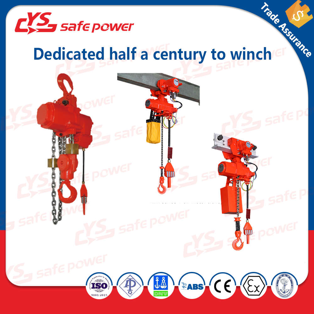 Heavy-duty 5.0 Ton - 32.0 Ton Air Hoists for mines, assembly line and other extreme enviroments